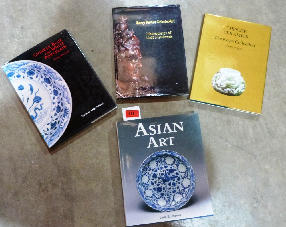 Four volumes: Asian Art, Mason; Chinese Blue and White Porcelain, Macintosh; Masterpieces of Meiji