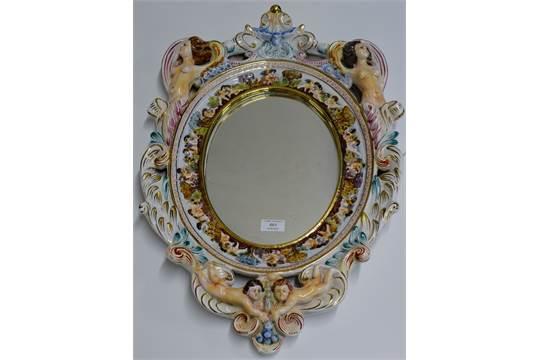 26 Ornate Capodimonte Porcelain Wall Mirror