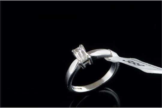 498b01d2cb5635 Single stone diamond ring, millennium cut diamond mounted in platinum, ring  size H