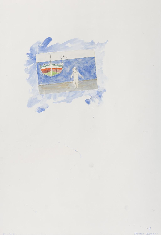 Lot 51 - FRANCO ANGELI (Roma 1935 - 1988) Al mare Acquerello e collage su cartoncino, cm. 100 x 70 Firma in