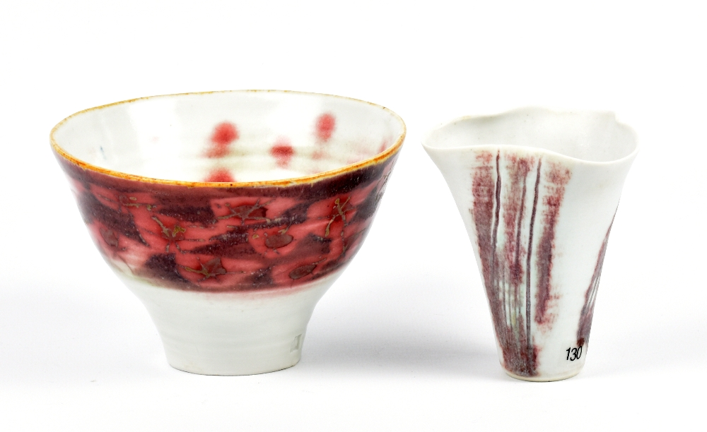 Lot 108 - MARIANNE DE TREY (1913-2016); a porcelain bowl and altered vase with copper red decoration,