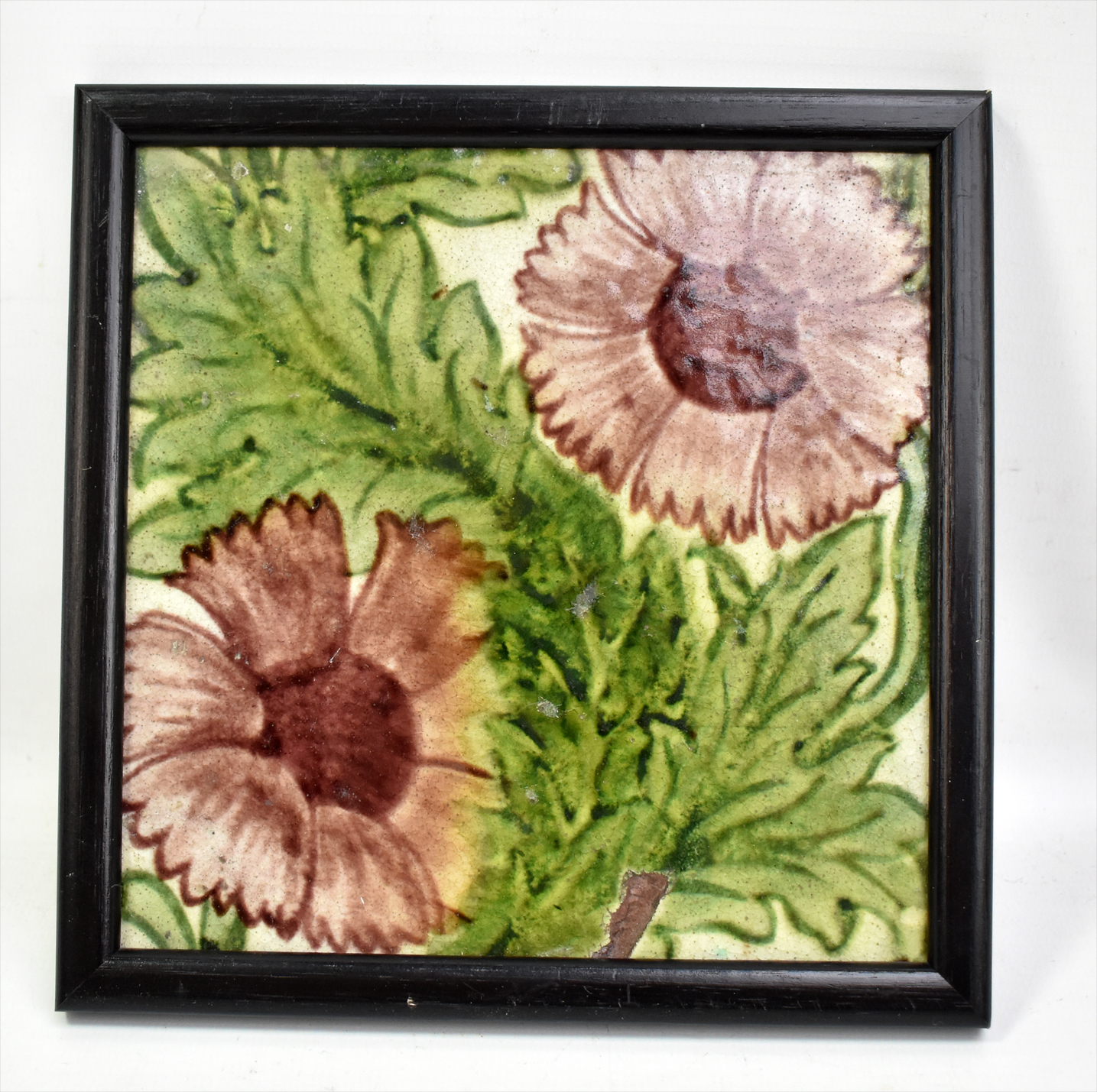 Lot 79 - WILLIAM DE MORGAN FOR ARCHITECTURAL POTTERY, POOLE, DORSET; a floral painted square sectioned