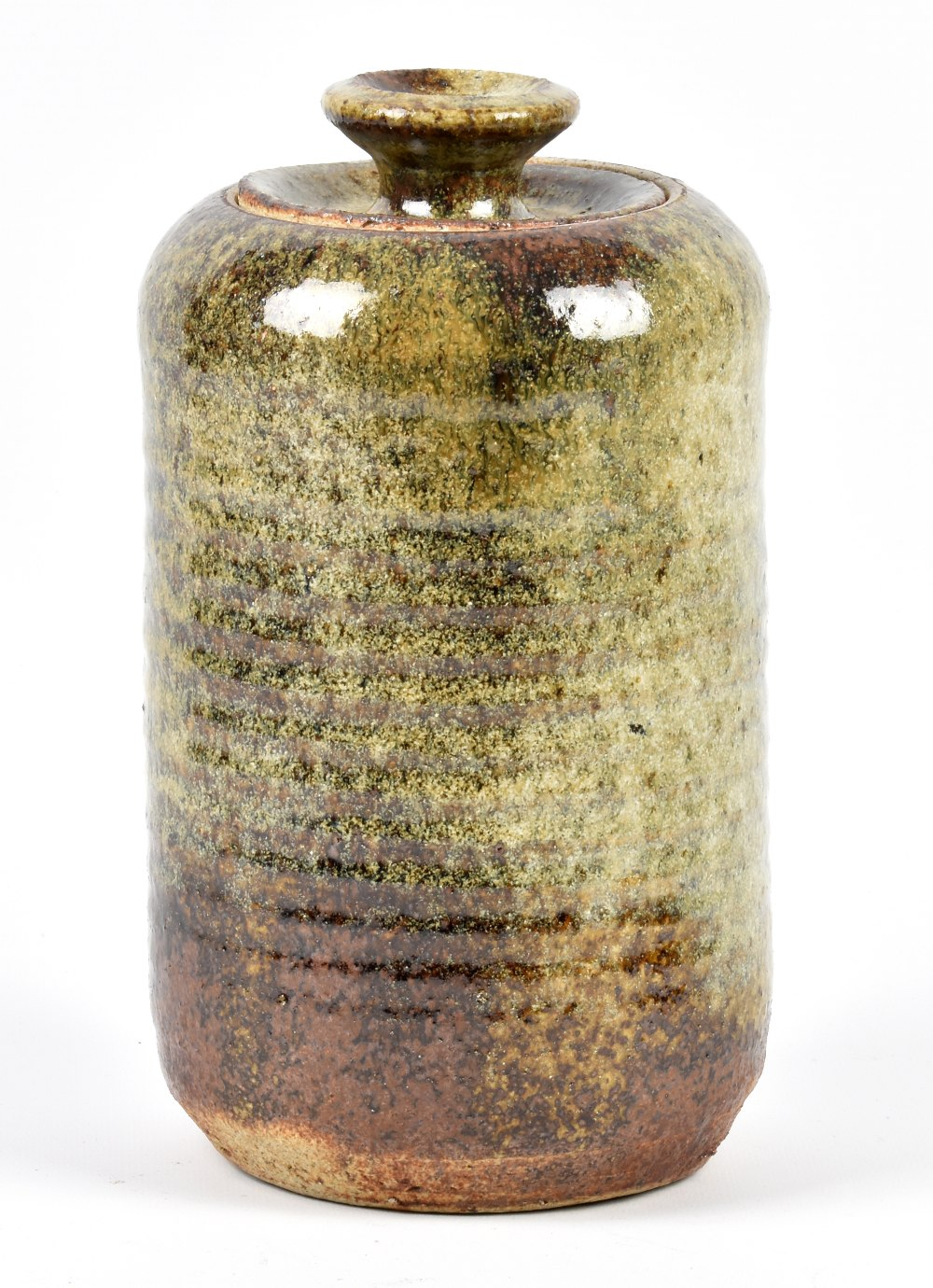 Lot 124 - ROSEMARY WREN (1922-2013) for Oxshott Pottery; a stoneware jar and cover with ribbed body, impressed