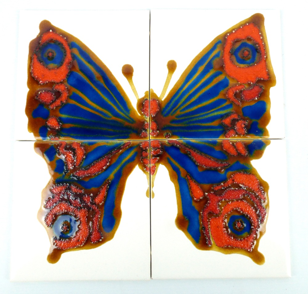 Lot 122 - KENNETH CLARK (1922-2012); a set of four earthenware tiles decorated with a butterfly, each 15 x