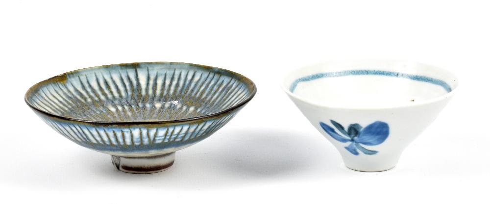 Lot 107 - MARIANNE DE TREY (1913-2016); two porcelain bowls with cobalt decoration, impressed dTe marks and