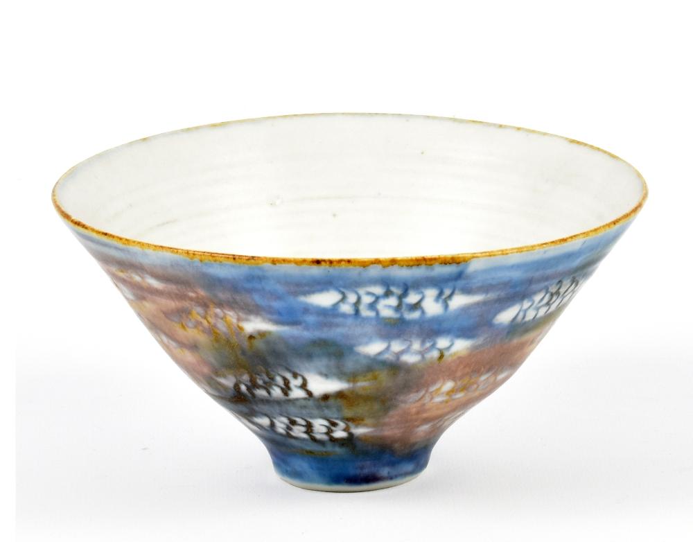 Lot 109 - MARIANNE DE TREY (1913-2016); a porcelain bowl with cobalt decoration, impressed dTe mark,