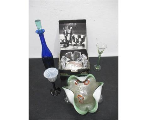 A collection of art glass including a Holmegaard decanter, boxed Orrefors glass bowl, Kosta Boda etc