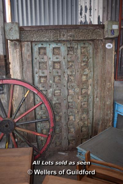 Lot 497 - *INDIAN ANTIQUE TEAK DOOR AND FRAME, 1620 X 2100