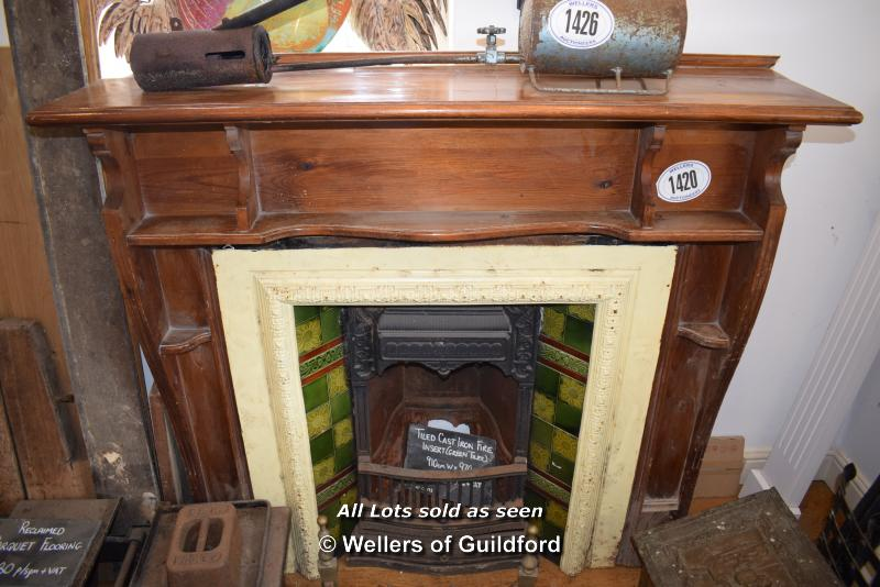 Lot 618 - *SIMPLE PINE FIRE SURROUND WITH SHELVES , 1360 X 360 X 1260