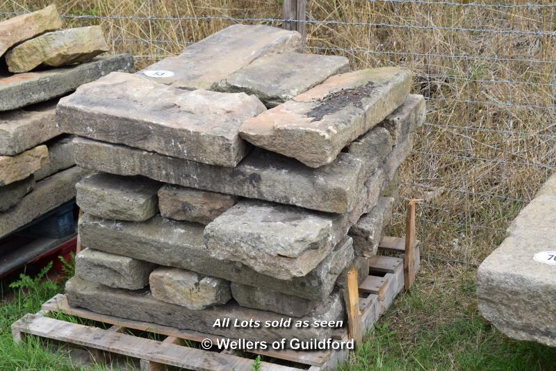 *PALLET OF SANDSTONE KERBS, APPROX 50 LINEAR FT, VARIOUS SIZES