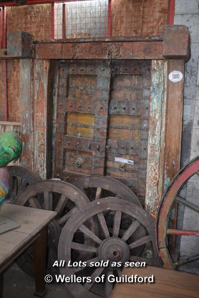 Lot 498 - *INDIAN ANTIQUE TEAK DOOR AND FRAME, 1550 X 2090