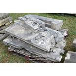 *PALLET OF APPROX SEVEN STONE SECTIONS, VARIOUS SIZES