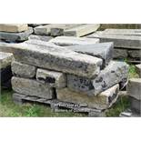 *PALLET OF NINE GRANITE KERBS WITH CHANNELING, APPROX 28 LINEAR FT, VARIOUS SIZES