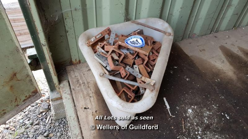 Lot 461 - *PLASTIC CORNER BUCKET FULL OF MIXED DOOR FURNITURE (DOOR LOCKS, PUSH PLATES, ETC)