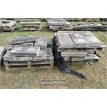 *TWO PALLETS OF BALLUSTRADE STONE COPING SECTIONS, APPROX 50 LINEAR FT, VARIOUS SIZES