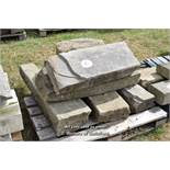 *PALLET OF SEVEN YORKSTONE KERBS, APPROX 18 LINEAR FT, VARIOUS SIZES