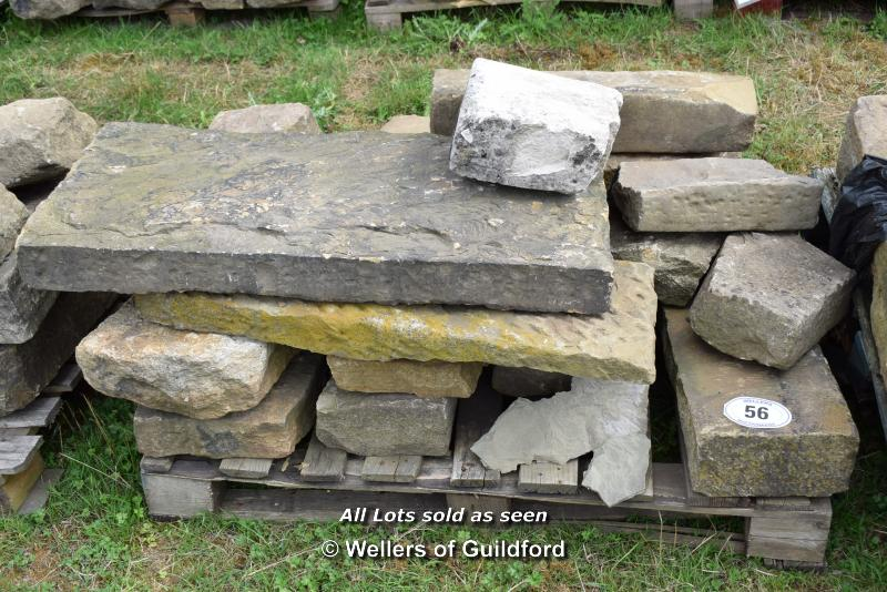 *PALLET OF APPROX FIFTEEN SANDSTONE STEP AND MIXED KERB PIECES, VARIOUS SIZES