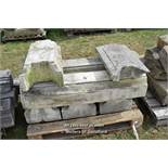 *PALLET OF SEVEN BALLUSTRADE STONE COPING SECTIONS, VARIOUS SIZES