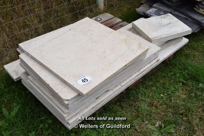 *PALLET OF APPROX FIFTEEN COMPOSITION STONE FLOOR TILES, VARIOUS SIZES