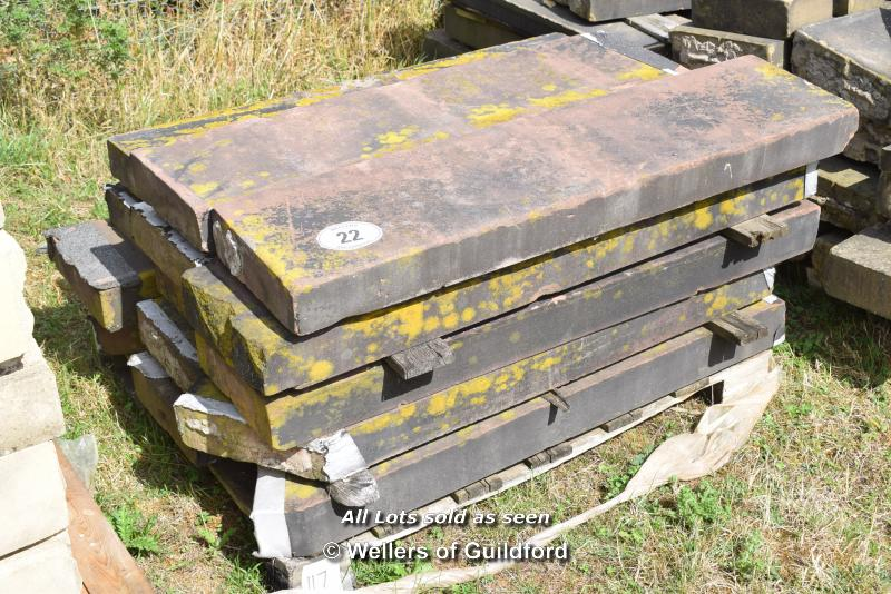 *PALLET OF SANDSTONE COPING, APPROX 56 LINEAR FT, VARIOUS SIZES