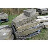 *PALLET OF FOUR STONE SECTIONS, INCLUDING TWO YORKSTONE LANDING STONES, THE LARGEST 1270 X 1400