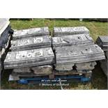 *PALLET OF APPROX TWELVE BALLUSTRADE STONE COPING SECTIONS, VARIOUS SIZES