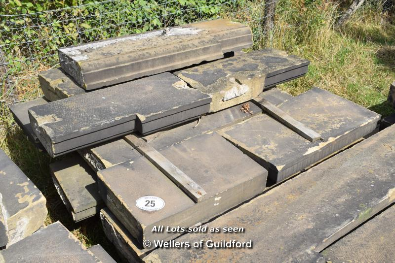 *PALLET OF APPROX FIFTEEN LIMESTONE COPING/BAND COURSE, VARIOUS SIZES