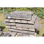 *PALLET OF DECORATIVE SANDSTONE WALL COPING, APPROX 90 LINEAR FT, VARIOUS SIZES