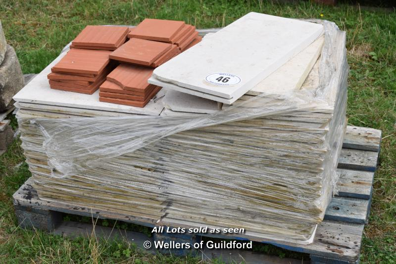 *PALLET OF APPROX THIRTY INTERLOCKING TILES, VARIOUS SIZES TOGETHER WITH CLAY FLOOR TILES
