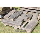 *PALLET OF DECORATIVE SANDSTONE WALL COPING, APPROX 20 LINEAR FT, VARIOUS SIZES