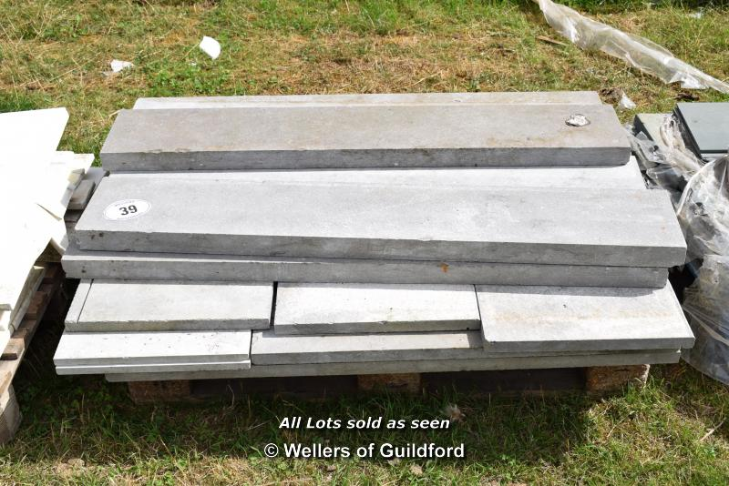*PALLET OF APPROX FIFTEEN STONE SLABS AND COPING, VARIOUS SIZES