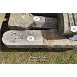 *PAIR OF SANDSTONE POSTS, EACH 4 FT HIGH