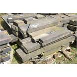 *PALLET OF APPROX TWENTY FIVE LIMESTONE COPING/BAND COURSE, VARIOUS SIZES