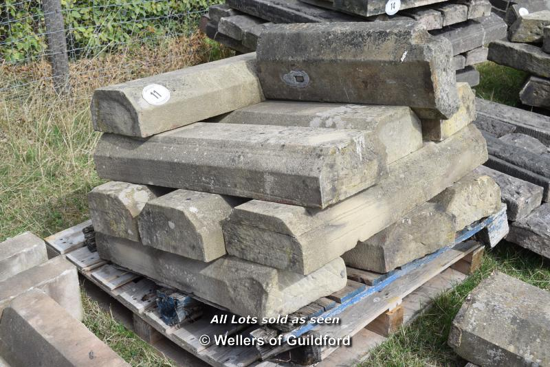 *PALLET OF STONE DOUBLE CANT WALL COPING/BAND COURSE, APPROX 33 LINEAR FT, VARIOUS SIZES