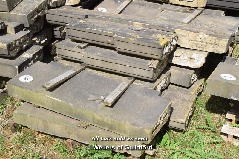 Lot 26 - *PALLET OF APPROX TEN LIMESTONE COPING/BAND COURSE, VARIOUS SIZES
