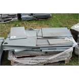 *PALLET OF APPROX FIFTY GREEN STONE TILES AND SLABS, VARIOUS SIZES
