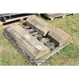 *PALLET OF DOUBLE CANT WALL COPING/BAND COURSE, APPROX 6.5 LINEAR FT, VARIOUS SIZES