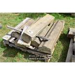 *PALLET OF CURVED WALL COPING STONES, APPROX 20 LINEAR FT, VARIOUS SIZES