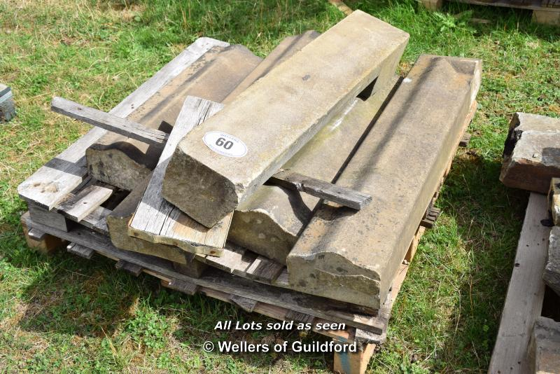 Lot 60 - *PALLET OF CURVED WALL COPING STONES, APPROX 20 LINEAR FT, VARIOUS SIZES