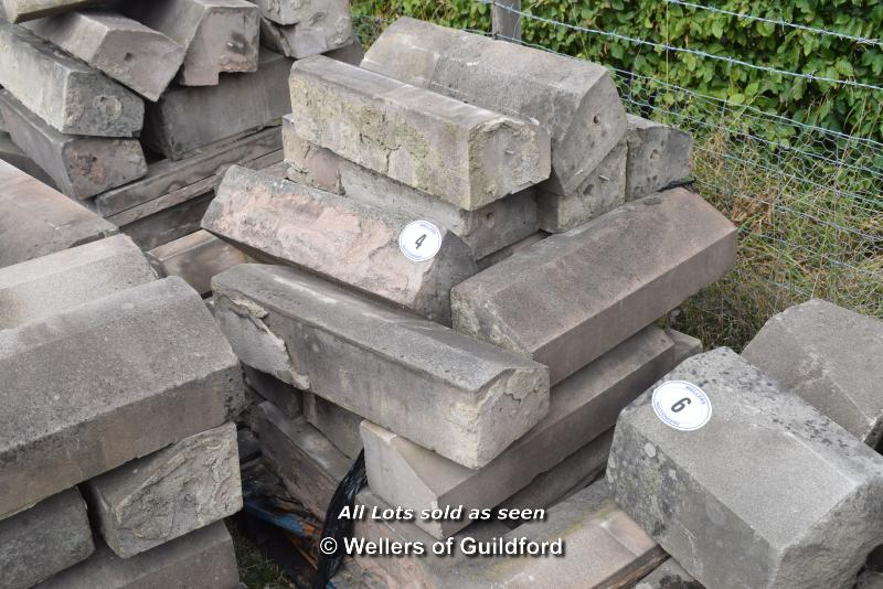 *PALLET OF SANDSTONE WINDOW SILLS/COPING, APPROX 50 LINEAR FT, VARIOUS SIZES