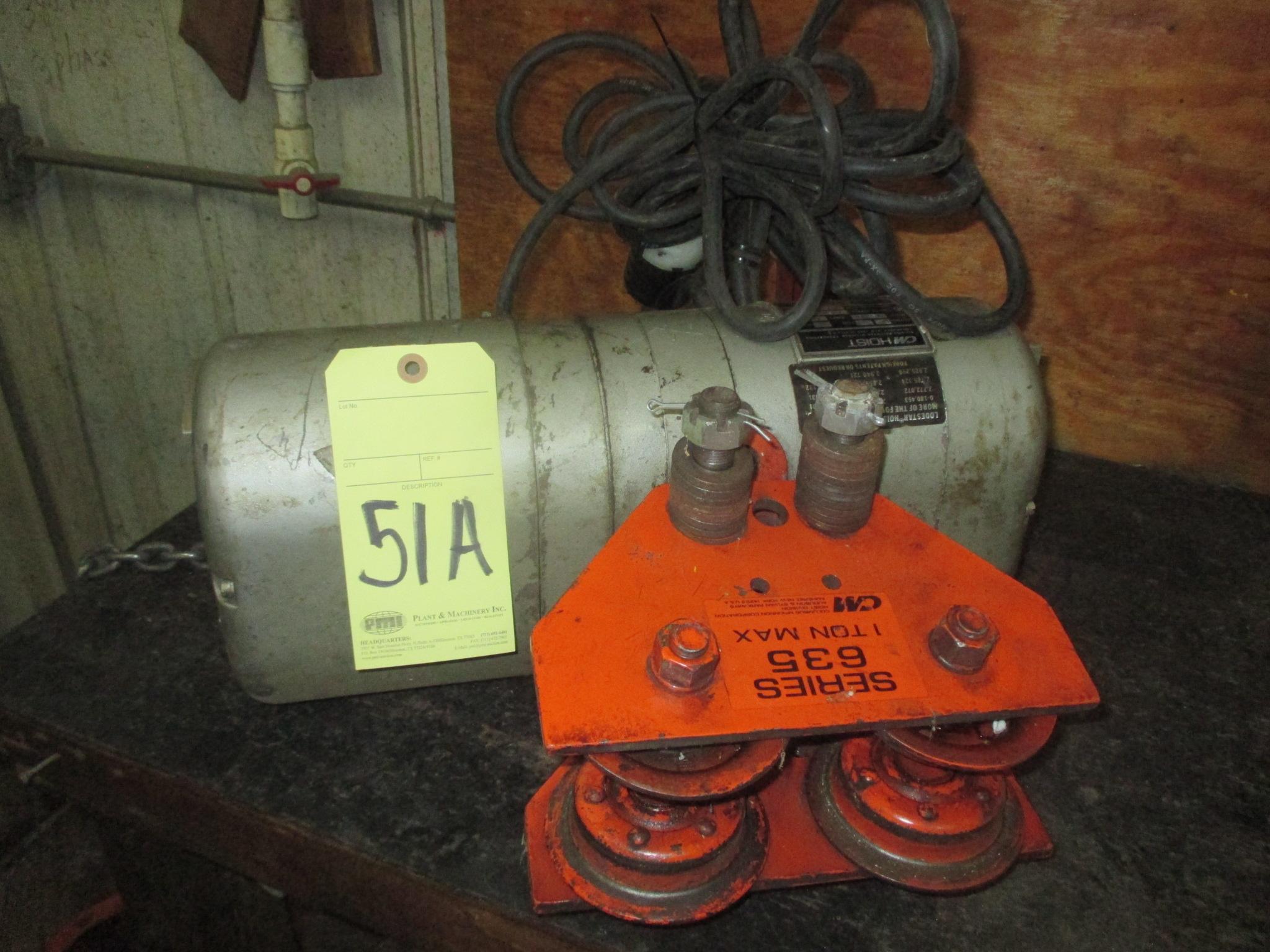 Lot 51A - ELECTRIC CHAIN HOIST, C&M, 1/2T.