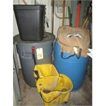 LOT CONSISTING OF: trash cans, brooms, mops, etc.