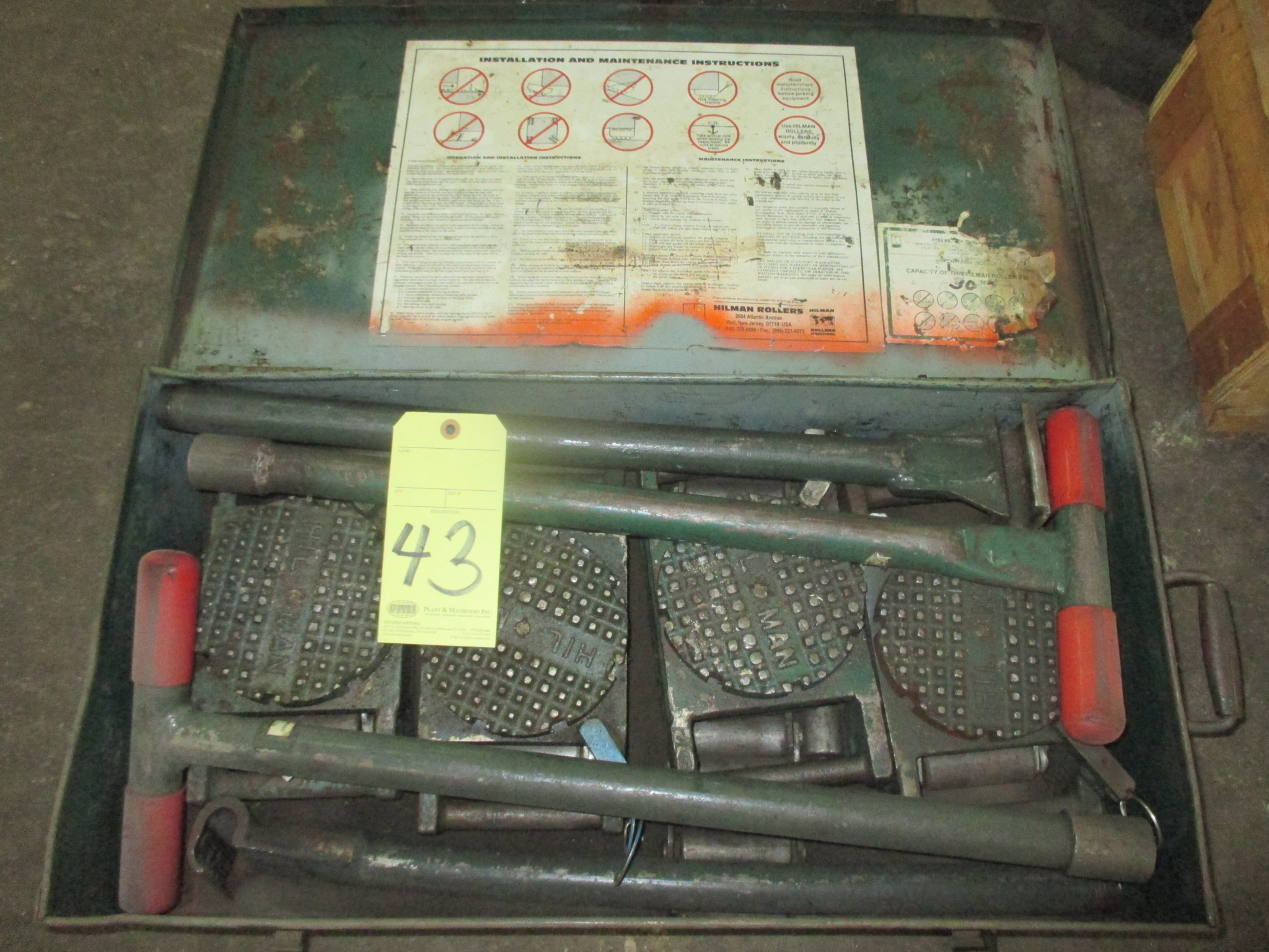 Lot 43 - LOT OF MACHINE MOVING ROLLERS, HILMAN 30 T. CAP. (one set)