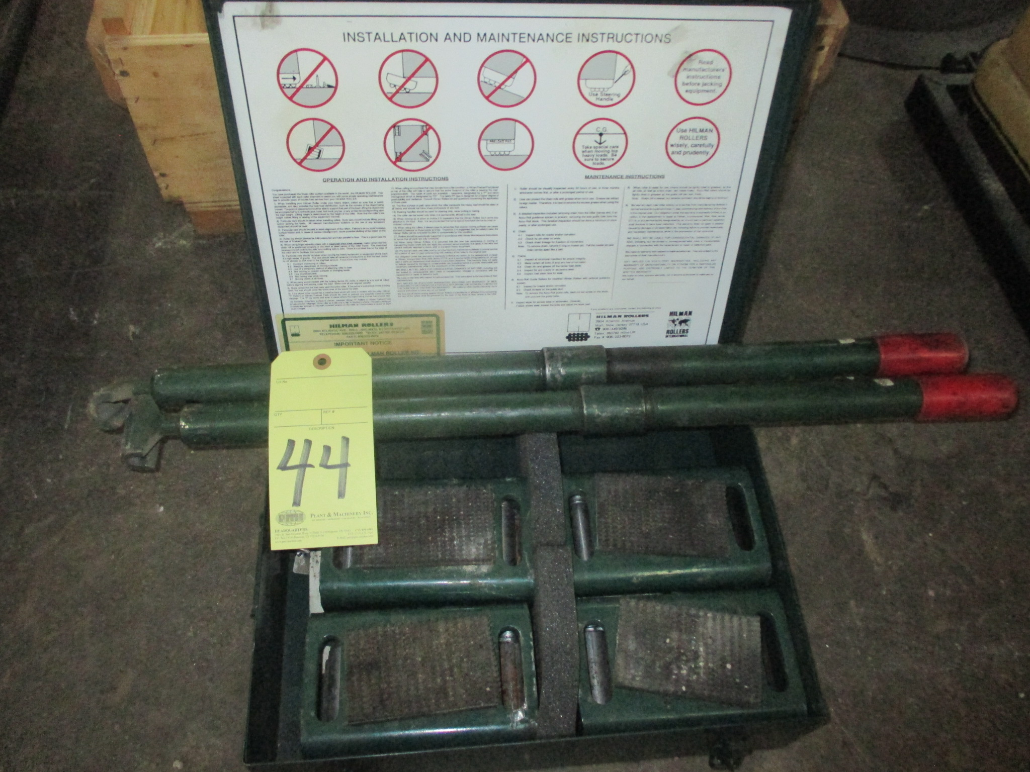 Lot 44 - LOT OF MACHINE MOVING ROLLERS, HILMAN 8 T. CAP. (one set)