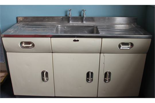 A 1950\'s English Rose kitchen sink unit, with two drawers and three ...