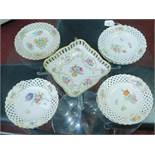 A set of eleven 19th century Meissen porcelain plates with floral designs, 1 restored and 1
