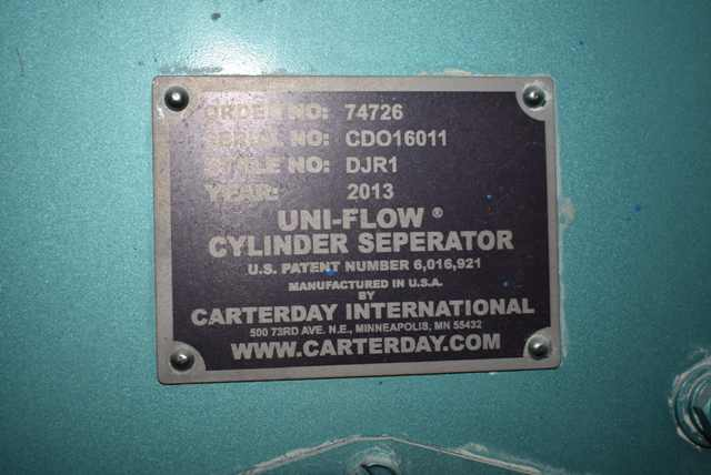 Lot 101 - 2013 Carter Day Style #DJR1 Uni-Flow Cylinder Separator, SN CD016011