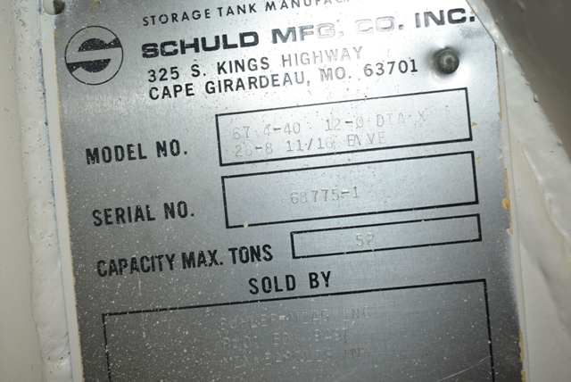 """Lot 150 - Schuld Manufacturing Company Model #67.4-40 Steel Silo/12' Diameter x 28' 8"""" Ht., Rated 52 Ton"""