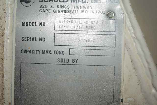 """Lot 155 - Schuld Manufacturing Company Model #67.4-40 Steel Silo/12' Diameter x 28' 8"""" Ht., Rated 52 Ton"""