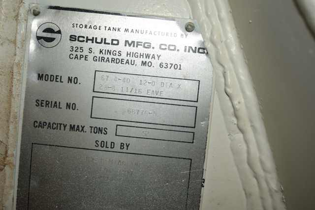 """Lot 159 - Schuld Manufacturing Company Model #67.4-40 Steel Silo/12' Diameter x 28' 8"""" Ht., Rated 52 Ton"""